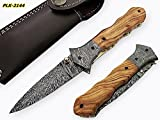 Poshland Knives FN-8200, Custom Handmade Damascus Steel 8.4 Inches Folding Knife – Beautiful Olive Wood with Damascus Steel Bolsters