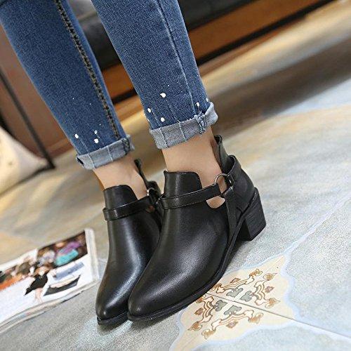LvYuan-mxx Las mujeres ponen en cortocircuito las botas / el invierno de la caída / el talón grueso punteó el dedo del pie / los cargadores de Martin / la comodidad ocasional / la oficina y el vestido BLACK-40