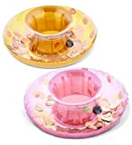 CoTa Global Pool Party - Gold & Rose Gold Sparkling Circle Confetti Pool Inflatable Ring Tube Drink Holder (2pc Set) - Foe The Beach, Pool Party - Heavy Duty - UV Resistant - Inflatables