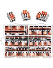 Preciva 100PCS Conductor Compact Wire Connectors Kit, Compact Splicing Connectors, Lever Nut Connector, Assortment Conductors Compact Wire Connectors 2 Port (40pcs), 3 Port (50pcs), 5 Port (10pcs)