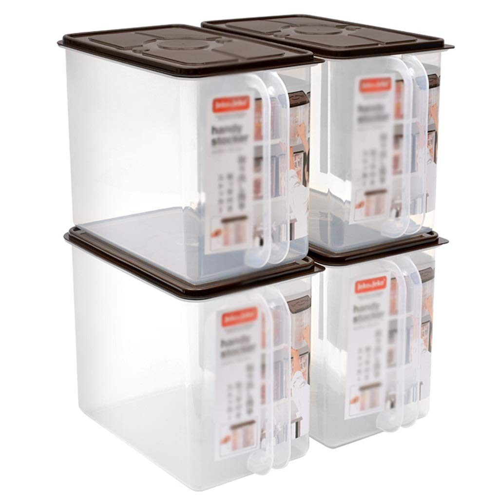 9Lストレージボックスプラスチック蓋付きリヤハンドルポータブルスタッククォートキッチンクリスピーピルボックス4パック B07RSKFR15