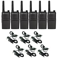 6 Pack Motorola RMU2040 Walkie Talkie Radios with Headsets