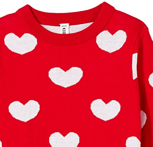 Kid Nation Girls' Sweater Long Sleeve Round Neck Cotton Pullover with Love Heart Pattern for Size 5-12Y Girls