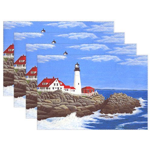 (WARMFM Ethel Ernest Portland Lighthouse Painting Heat-Resistant Placemats, Polyester Tablemat Place Mat for Kitchen Dining Room Set of 4)