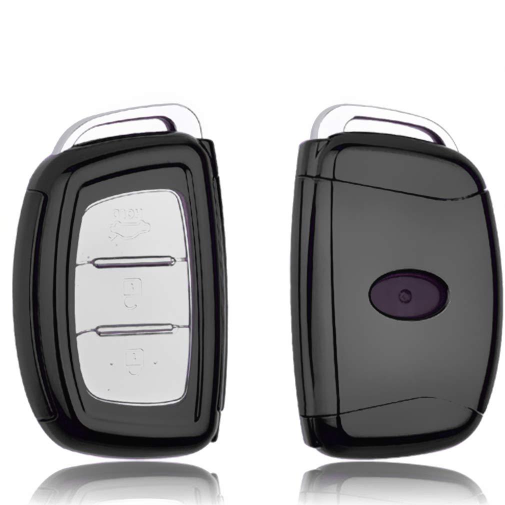 Nero - 3 Buttons Guscio Protettivo coprichiave in Morbido Silicone caucci/ù Custodia per Chiave Hyundai Sonata Elantra Tucson ix35 ix20 i30 3 Buttons