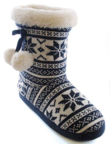 Casa Zapatillas De Estar Por Sintético Mujer Para Uwear Azul Marino Material Socks w1qXTT