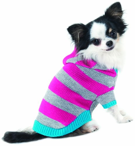 Fashion Pet Lookin Good Collegiate Striped Hoodie Sweater for Dogs, Medium, Pink, My Pet Supplies