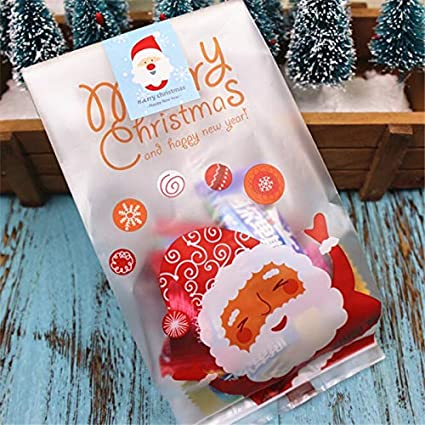 Basket Wicker - 50pcs Self Adhesive Christmas Candy Bags ...
