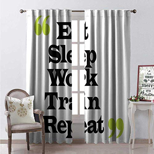 Hengshu Quote Window Curtain Drape Typographic Lettering Design Eat Sleep Work Train Repeat in Quotation Marks Customized Curtains W84 x L108 Black Apple Green