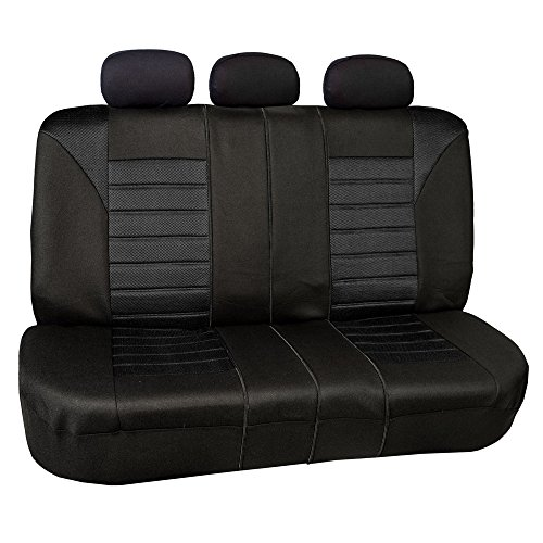 Fabric Rear Bench Jeep Seat - FH GROUP FH-FB068013 Premium 3D Air Mesh Split Bench Seat Cover Solid Black Color- Fit Most Car, Truck, Suv, or Van