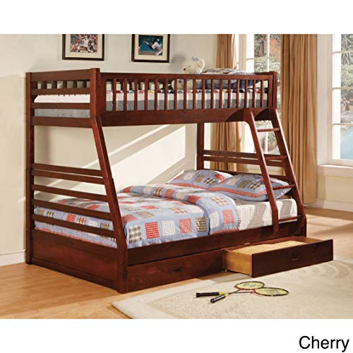 Furniture of America Carmille Twin Over Full Bunk Bed with Drawers Red Cherry Finish ()