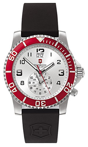 Swiss Army Date Wrist Watch - Victorinox Swiss Army Men's 241177 Maverick II Dual Time Silver Dial Watch