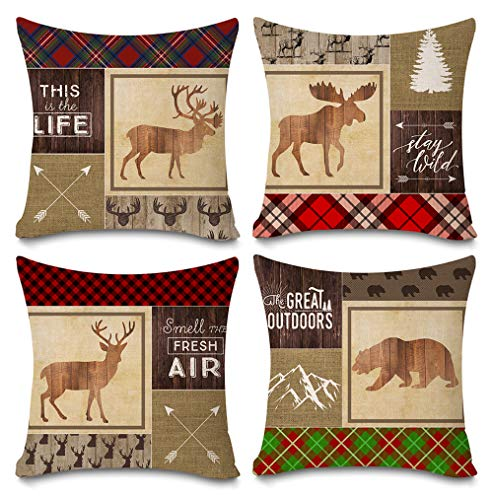 Faromily Retro Vintage Wood Background Wildlife Elk Moose Bear Deer with Quotes Cotton Linen Cabin Throw Pillow Case Cushion Cover 18