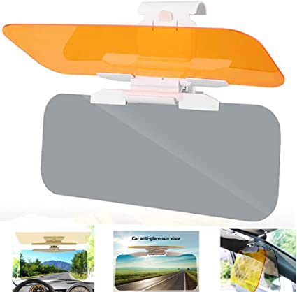 Upgrade Automobile Windshield Visor Car Sun Visor White Base HD Anti-Glare Dazzling Goggle Day Night Mirror Vision Adjustable 2 in 1 Anti-Glare Visor Day and Night Car Visor Extender