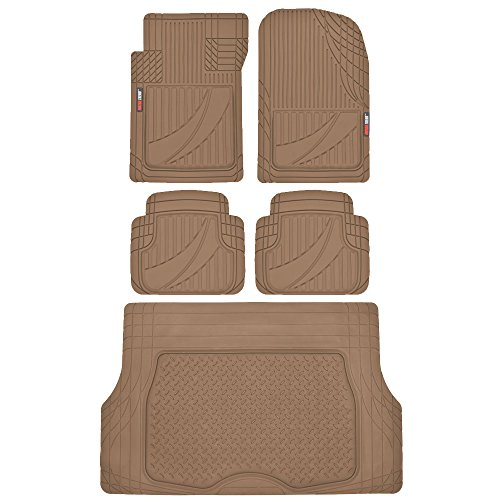 FlexTough Advanced Performance Liners - 5pc HD Rubber Floor Mats & Cargo Liner for Car SUV Auto (Beige)