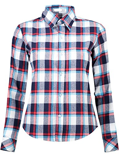 DOKKIA Women's Casual Blouses Long Sleeve Plaid Checkered Button Down Flannel Shirts (Small, Black White (Checkered Western Shirt)