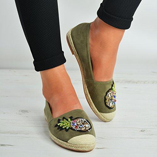 Brand New Womens Slip On Ballerinas Ladies Girls Espadrille Diamante Studs Closed Toe Flats Shoes Size Uk 3-8 Olive lzcA4UEtR4
