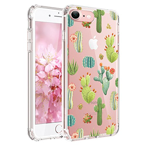 JIAXIUFEN Green Cactus Clear Slim Shockproof Flower Floral Design Soft Flexible TPU Silicone Back Cover Phone Case for iPhone 6 Plus and iPhone 6S Plus