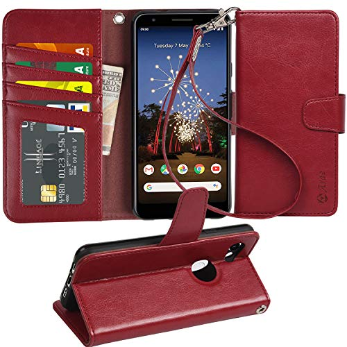 Pixel 3A Case, Arae PU Leather Wallet case for Google Pixel 3A with Wrist Strap and ID&Credit Cards Pocket (Wine red)