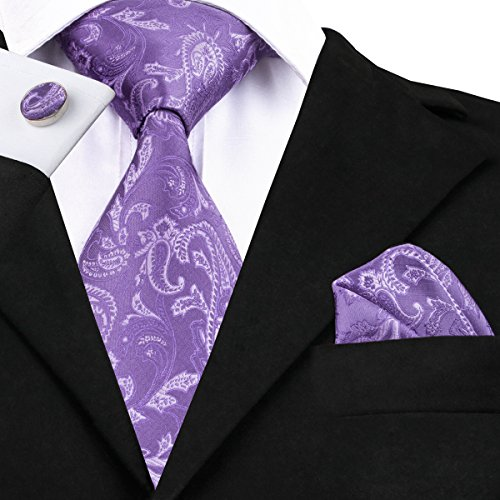 Woven Set Tie Tie DiBanGu and Cufflinks Lavender Handkerchief Floral Necktie Silk Regullar for Men S4qXxqIpB