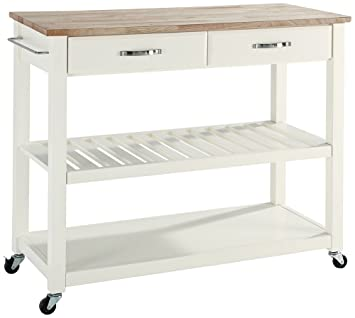Crosley Furniture Portable Kitchen Cart With Natural Wood Top White