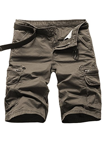 Brown Casual Shorts - P2U Mens Multi-Pocket Solid Casual Twill Cargo Shorts Coffe 31
