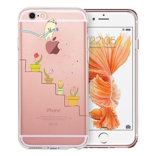 iPhone 6 Plus Case, iPhone 6S Plus Case, Doramifer Funny Series Protective Case [Anti-Slip] [Good Grip] with Aesthetic 3D Print Soft Back Cover for iPhone 6 Plus/6S Plus (Watering Cat)