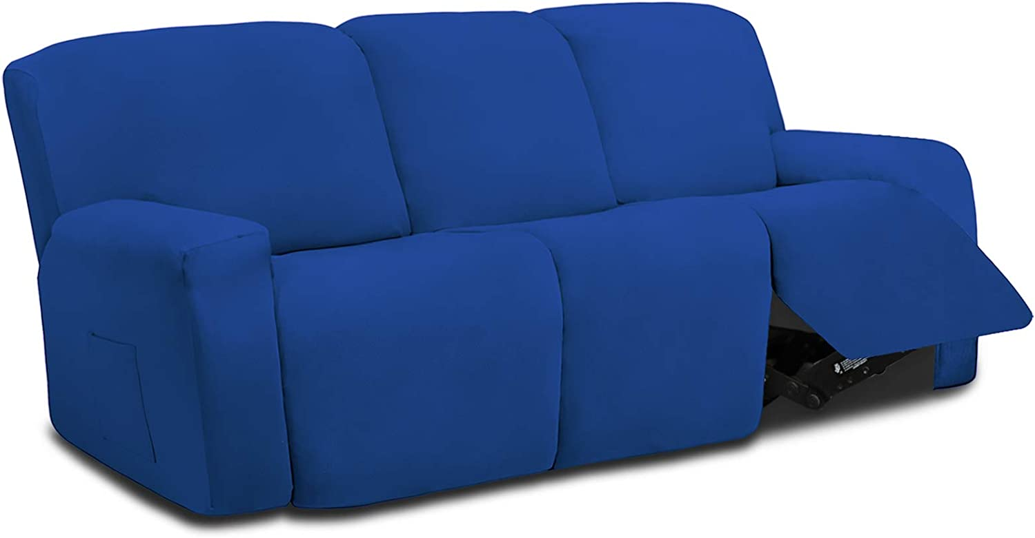 Easy-Going 8 Pieces Microfiber Stretch Sectional Recliner Sofa Slipcover Soft Fitted Fleece 3 Seats Couch Cover Washable Furniture Protector with Elasticity for Kids Pet(Recliner Sofa,Classic Blue)
