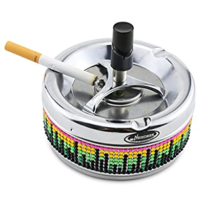 Ashtray, Newness Stainless Steel Round Push Down Ashtray with Spinning Tray - Fashion Design Tabletop Cigarette Ashtray for Home Decoration - Ash Holder, Desktop Smoking Ash Tray for Smokers