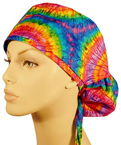 Womens Surgical Scrub Hat - Big Hair Women's Medical Scrub Caps - Tie Dye