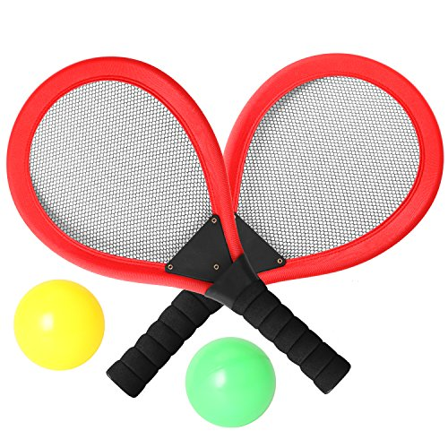 rainbow yuango Pack of 2 17'' Badminton Tennis Rackets Kit with 2 Balls Junior Sports Elastic Mesh Badminton Racquets Set for Kids Outdoors Play Game Toy(595-Red)