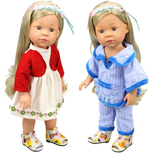 [HappyBB 2 PCS Baby Doll Clothes Fits 14-16 inches American Girl Doll - Blue Cape Coat and Trousers & Red and Beige] (2pc Child Cheerleader Costumes)
