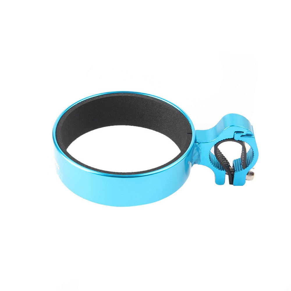 Bicycle Cup Holder Handlebar Cruiser Aluminum Alloy Mountain Road Bicycle Bike Water Bottle Coffee Cup Holder with Non-Slip Liner Inner Diameter 29.9'' and Outer Diameter 34'' (Blue)