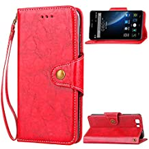Doogee X5 Case,Doogee X5 PRO Case,Gift_Source [Card Slots] [Kickstand] Flip Folio Wallet Case PU Leather Cover Scratch Resistant Case Metal Buckle and Wrist Strap for Doogee X5/X5 PRO 5.0 inch [Red]