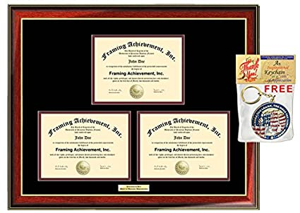 Amazon.com: Engraved Certificate Frame Three Diploma Framing Double ...