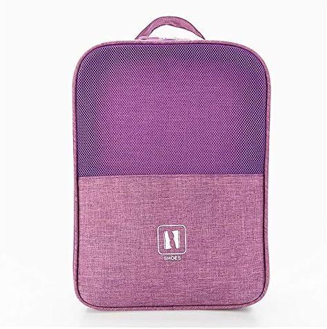 旅行用収納袋 靴収納袋パッキングキューブ旅行主催者防水旅行アクセサリー ハンドロールアップ再利用可能な服 (色 : Purple, Size : Free size)