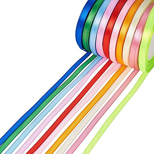 Fashewelry 10 Colors Fabric Ribbon Silk Satin Ribbons Roll 1/4
