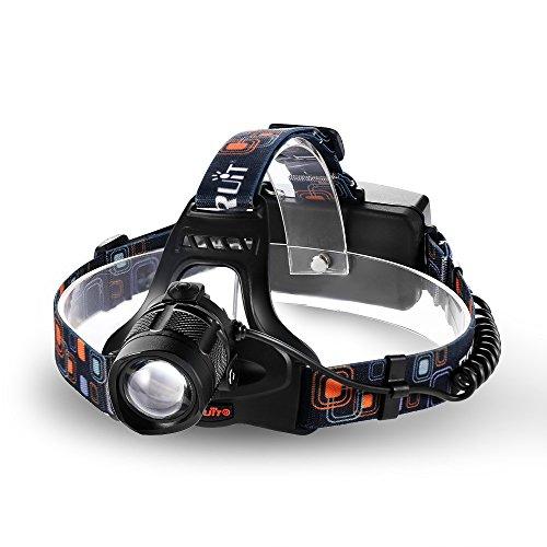GRDE® 1800 Lm Kopflampe Stirnlampe mit Super Helle Birnen, Wasserdicht 3 Modi Zoombare Drehbare Stirnleuchten