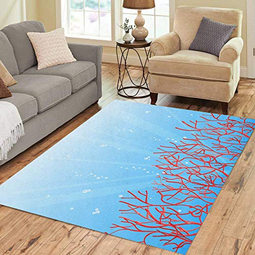 Pinbeam Area Rug Colorful Red Coral and Bubbles in Blue Ocean Home Decor Floor Rug 5
