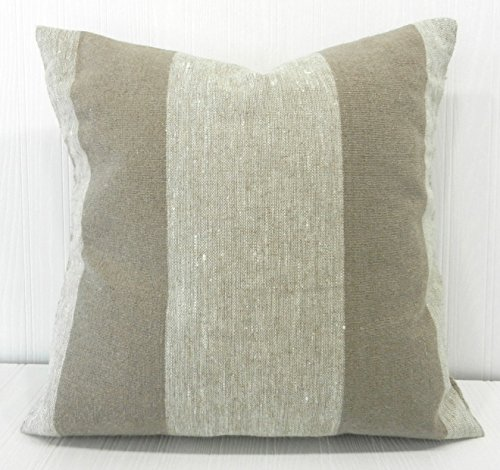 Pillow Cover 18x18 Rustic Farmhouse Linen Natural and Tan Wide Stripe