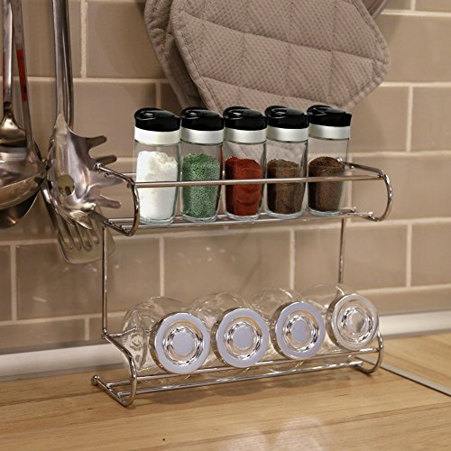 2 tier spice rack ezoware silver kitchen countertop 2. Black Bedroom Furniture Sets. Home Design Ideas