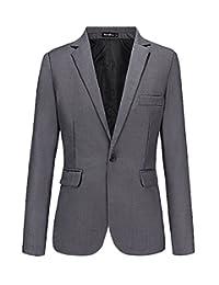 Benibos Mens Casual Slim Fit One Button Blazer Suit Jacket