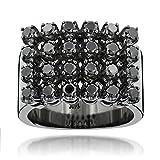 Luxurman Mens Hip Hop Jewelry 14K Black Natural 1.8 Ctw Diamond Ring (Rhodium Plated Gold Size 12.5)