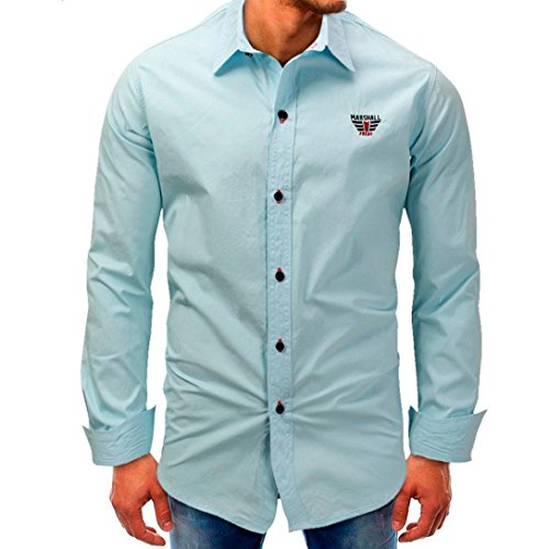 Gypsy Cowgirl Collection - Men Long-Sleeve Beefy Button Basic Solid Blouse Tee Shirt Top by Limsea