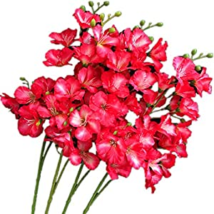 jiumengya 8pcs Artificial Orchid Flower 20 Heads/Piece Rose Red Color Silk Hollyhock Fake Hibiscus 27.56″ for Wedding Centerpieces Home Floral Decoration (Rose red)