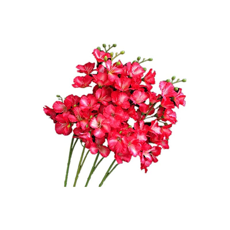 """silk flower arrangements 8pcs artificial orchid flower 20 heads/piece rose red color silk hollyhock fake hibiscus 27.56"""" for wedding centerpieces home floral decoration (rose red)"""