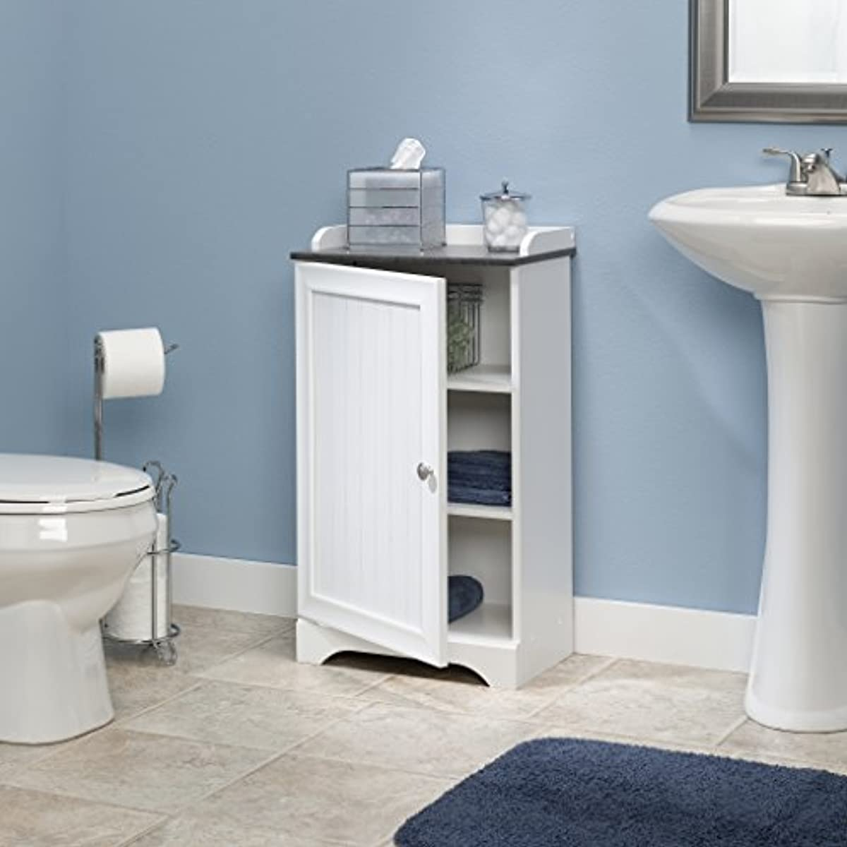 Small Bathroom Floor Cabinet Medicine Storage Soft White ...