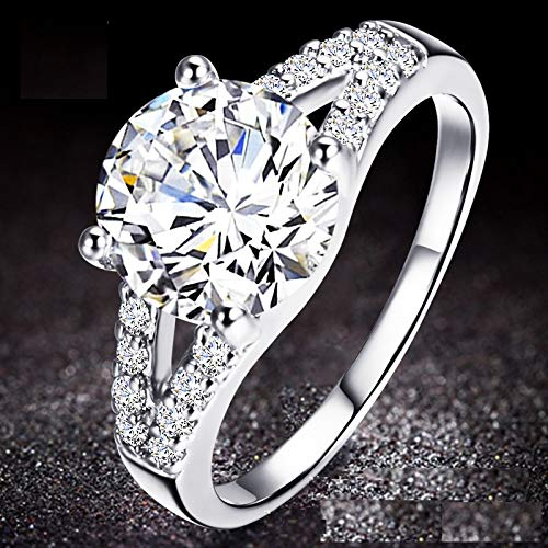 KUYIUIF Cushion 3ct CZ Engagement Rings Double Band Cubic Zirconia Promise Halo Engagement Ring 925 Sterling Silver Solitaire Engagement Ring for Women (6)