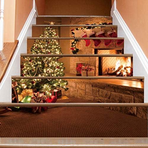 Unine 6 piezas de pegatinas para escaleras de Navidad, muñeco de nieve de Navidad, alce de Papá Noel, escalera de fuego, escalera extraíble, decoración de pared impermeable, azulejos de Navidad para elevar