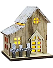JTLB Decorative LED Wooden House Christmas Town Christmas Village with Lighting, Christmas Decoration, Wooden Decoration, Illuminated House, Table Decoration for Offices and Shops